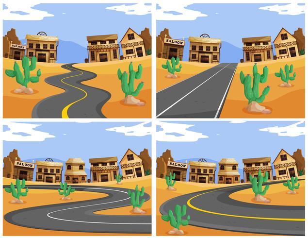 Cuatro escenas con caminos en el pueblo occidental.