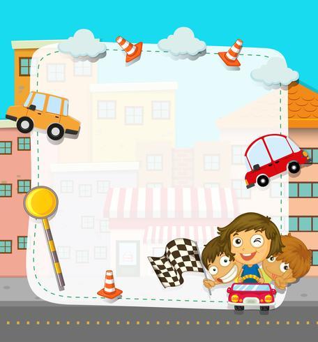 Diseño de frontera con niños y tráfico.