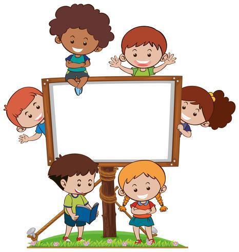 Banner-Vorlage mit glücklichen Kindern