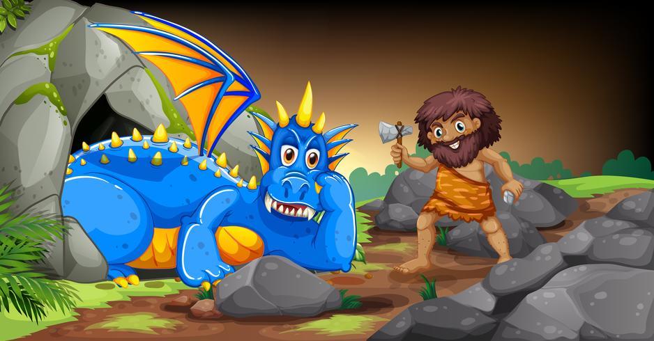Hombre de las cavernas y dragón