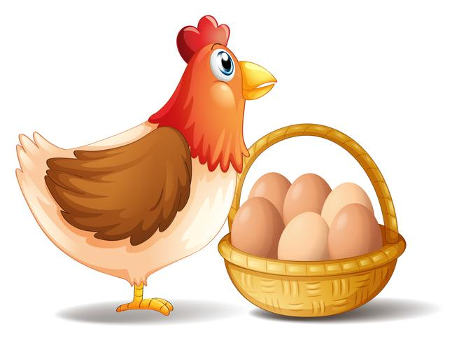 Modernen höna och en korg med ägg