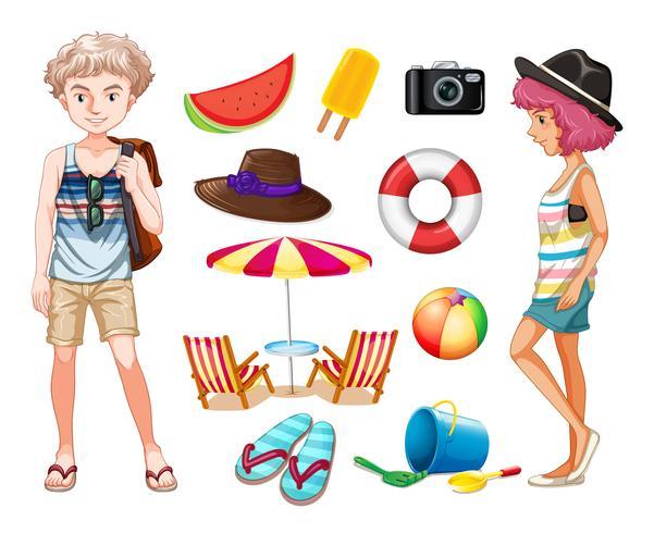 Hipsters och strand objekt