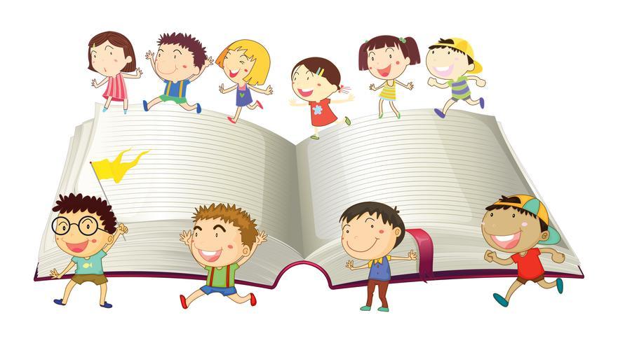 Meninos e meninas correndo no livro