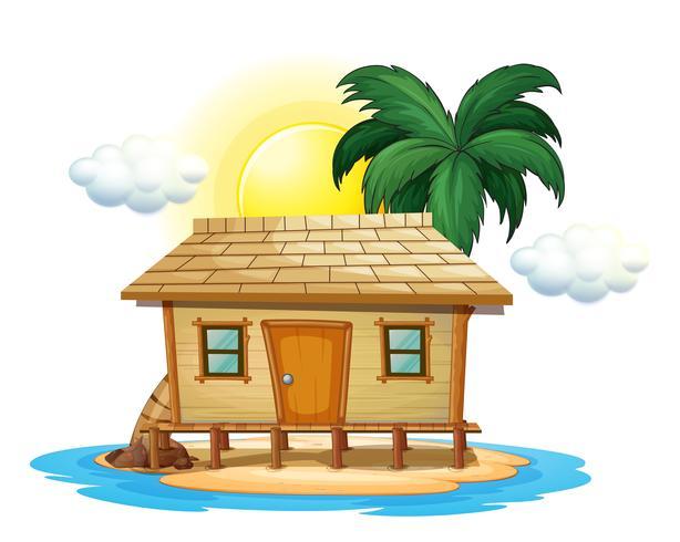 Cabaña de madera en isla tropical