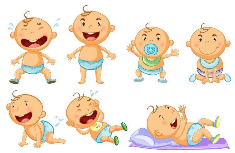Baby in verschiedenen Aktionen