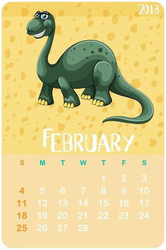 Kalendervorlage für Februar mit Brachiosaurus