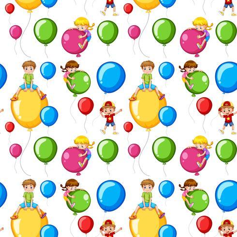 Ragazzi modello senza saldatura su palloncini colorati