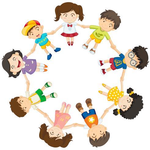 Crianças, formando, um, círculo
