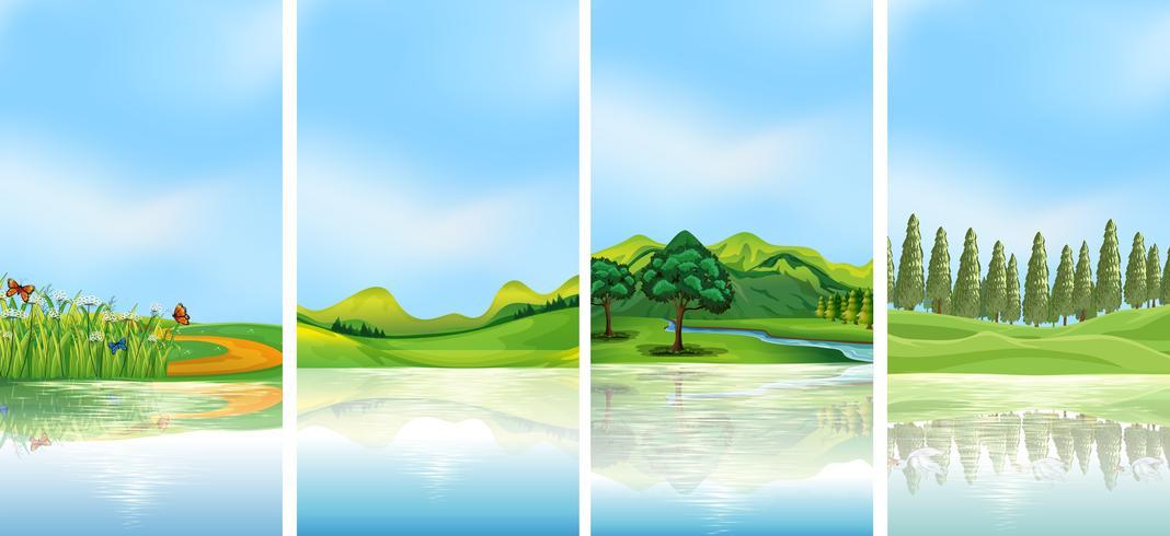 Cuatro escenas de fondo con árboles en las colinas.
