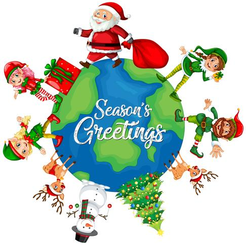 Christmas element on the globe vector