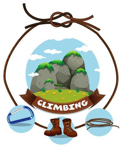 Segno di arrampicata e vista moutain