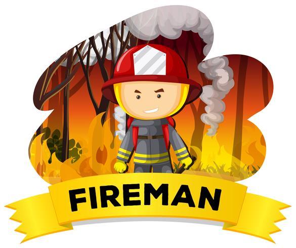 Brandweerman met vuur op de achtergrond
