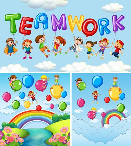 Children and balloons for word teamwork