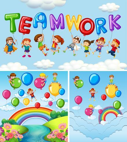 Crianças e balões para o trabalho em equipe da palavra