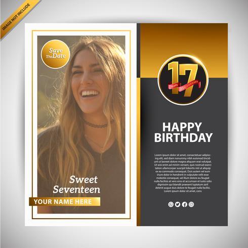 Feliz Aniversário Doce Dezessete Ouro Social Media Banner Promoção vetor