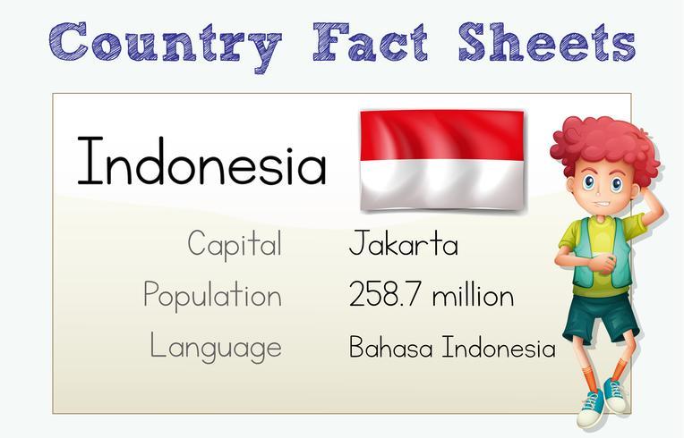 Scheda informativa paese Indonesia con carattere