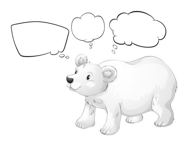 A white polar bear with empty callouts
