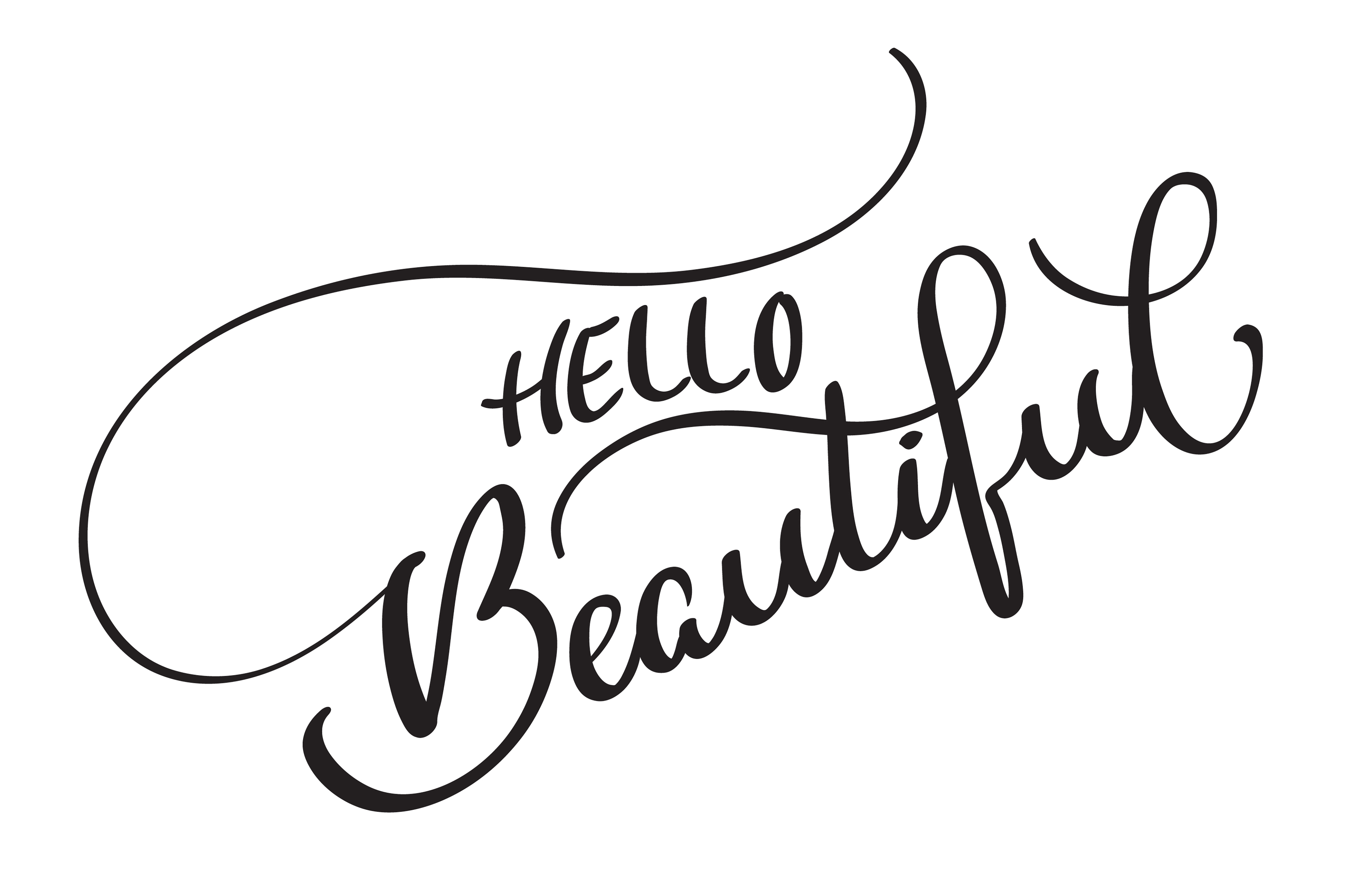 hello beautiful vector text on white background ...