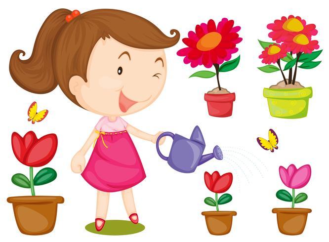 Liten tjej vattnar blommor