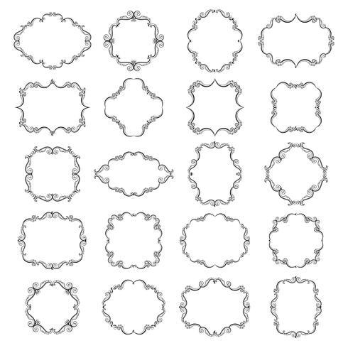 Ställ in samling av prydnadsramar vektor