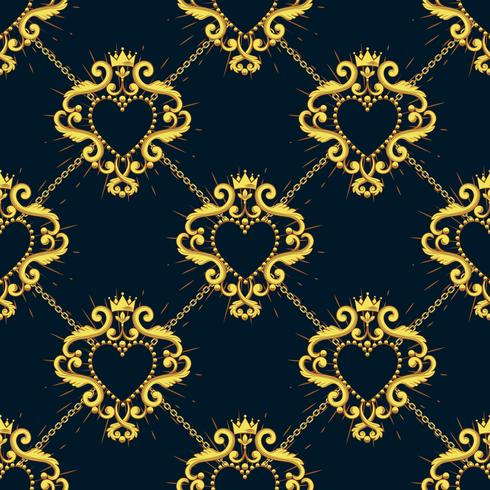 Sacred heart and golden chain on black blue background. Seamless pattern. Vector illustration