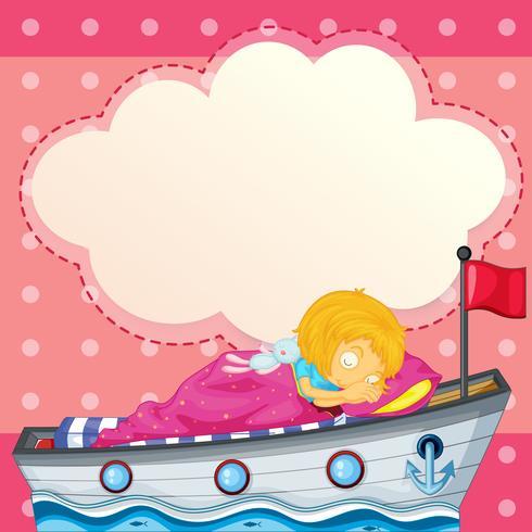 Una niña que duerme en el barco con un anuncio vacío.