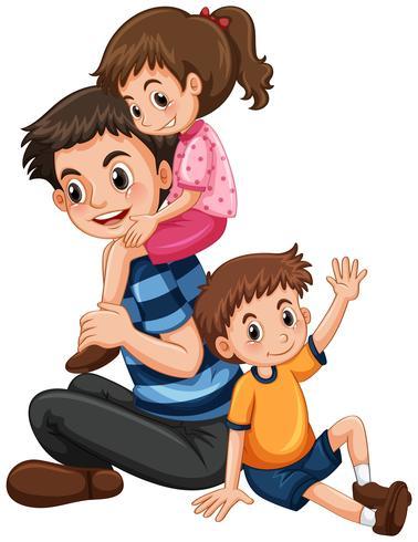 Vater mit Tochter und Sohn