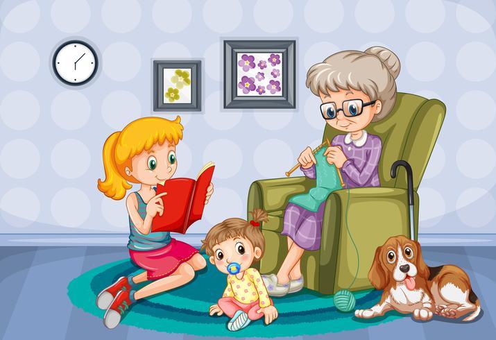 Grand-mère et enfants dans la chambre