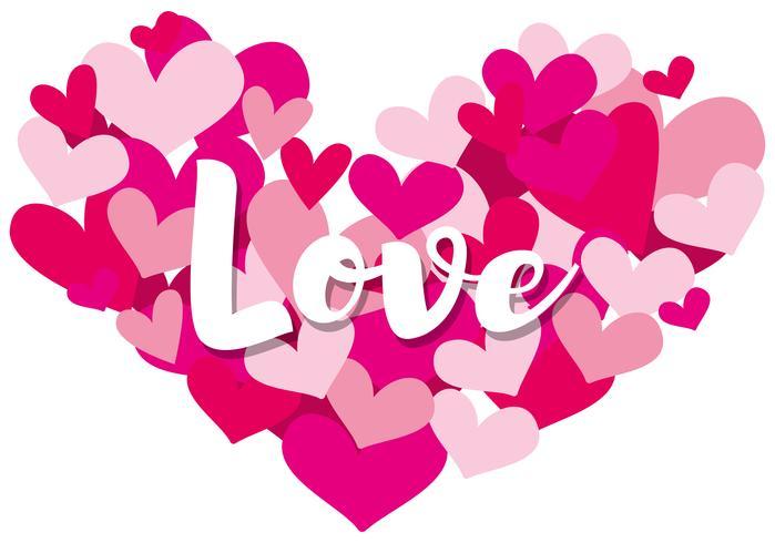 Velentine kaartsjabloon met woordliefde op hartvormen