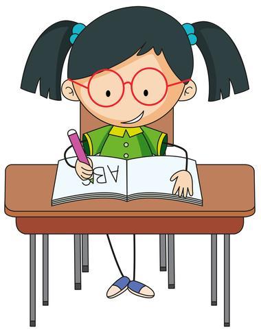 Une fille qui étudie sur le bureau