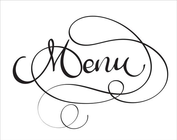 Palabra del vector del menú en el fondo blanco. Dibujado a mano ilustración de letras de caligrafía vintage EPS10