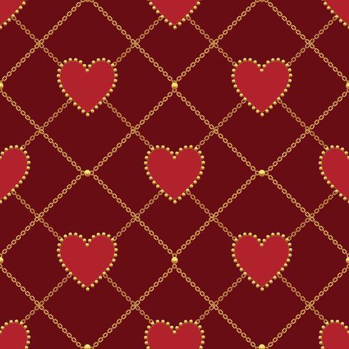 A forma di cuore e catena d'oro su sfondo rosso scuro. Modello senza soluzione di continuità Illustrazione vettoriale