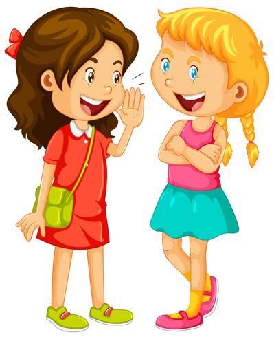 Duas meninas, bisbilhotando, branco, fundo