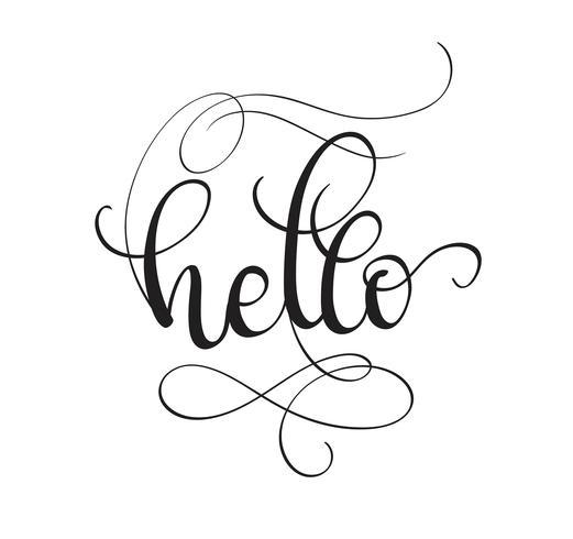 Hej text isolerad på vit bakgrund. kalligrafi och bokstäver vektor