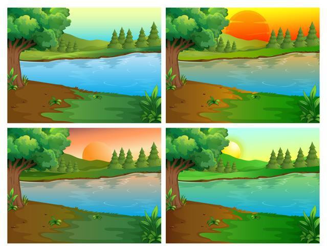 Quattro scene di fiume e foresta