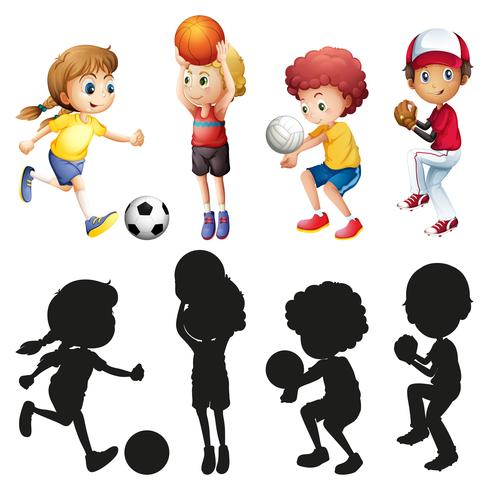 Enfants pratiquant différents sports