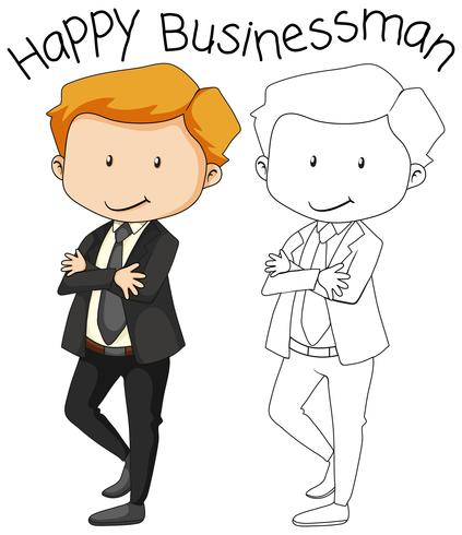 Doodle happy businessman character Vector - Download Free