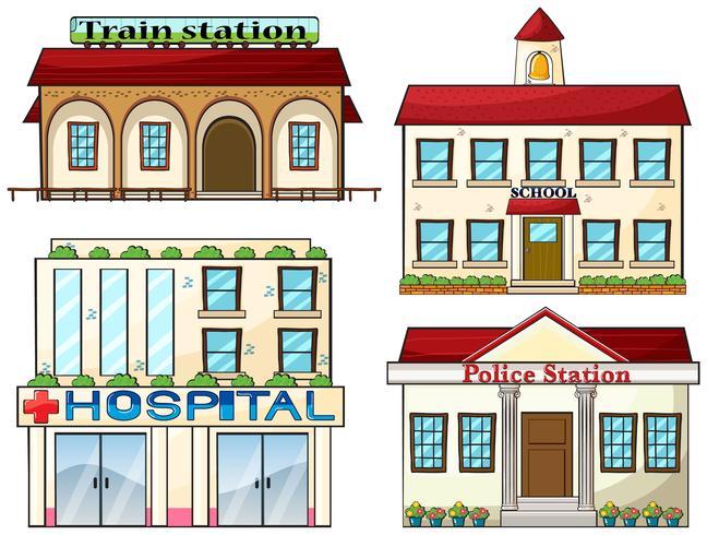 En tågstation, en skola, en polisstation och ett sjukhus