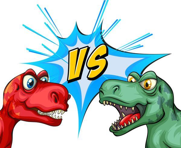 Zwei T-Rex kämpfen miteinander