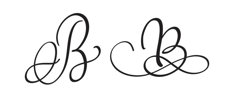 Caligrafía artística letra B con floritura de verticilos decorativos. Ilustración vectorial eps10
