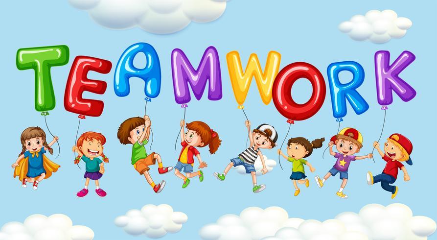 Crianças e balões para o trabalho em equipe palavra
