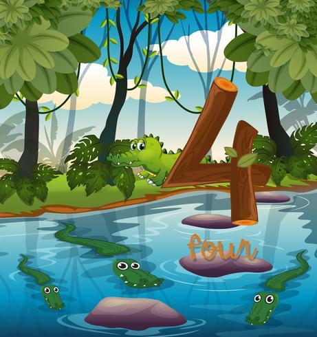 Quattro coccodrilli nello stagno