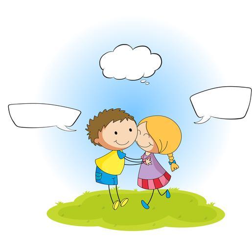 Coppia, con, discorso, balloon
