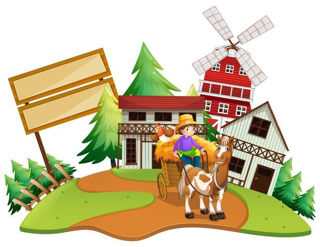 Landbouwer die wagen in de boerderij berijdt