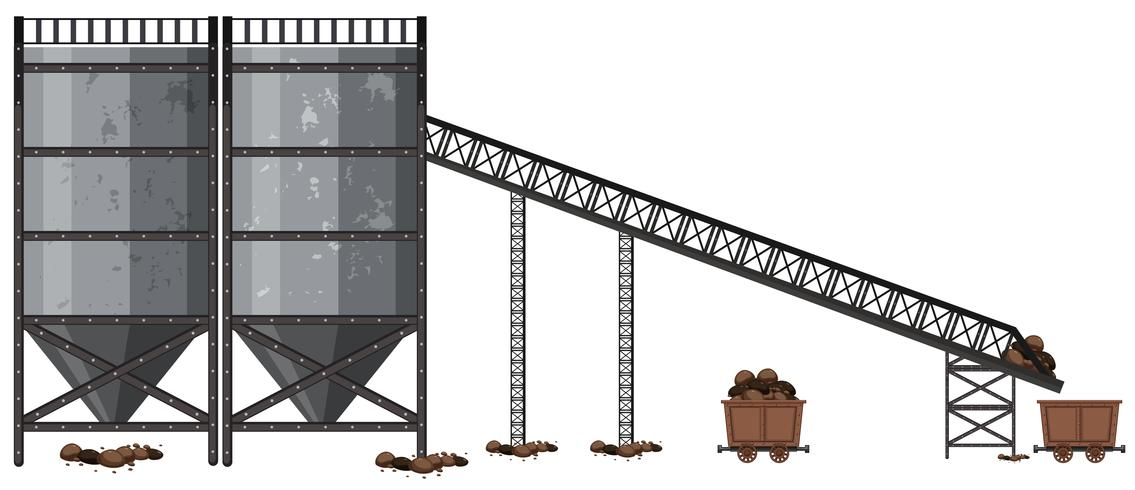 A Coal Mining Factory on WHite Background vector