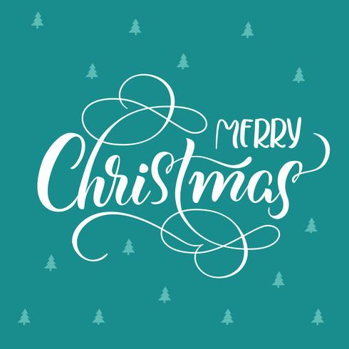 blauwe vakantie achtergrond met tekst Merry Christmas. kalligrafie en belettering. Vector illustratie EPS10