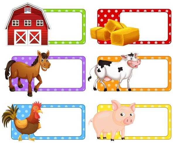 Etiquetas com diferentes animais de fazenda
