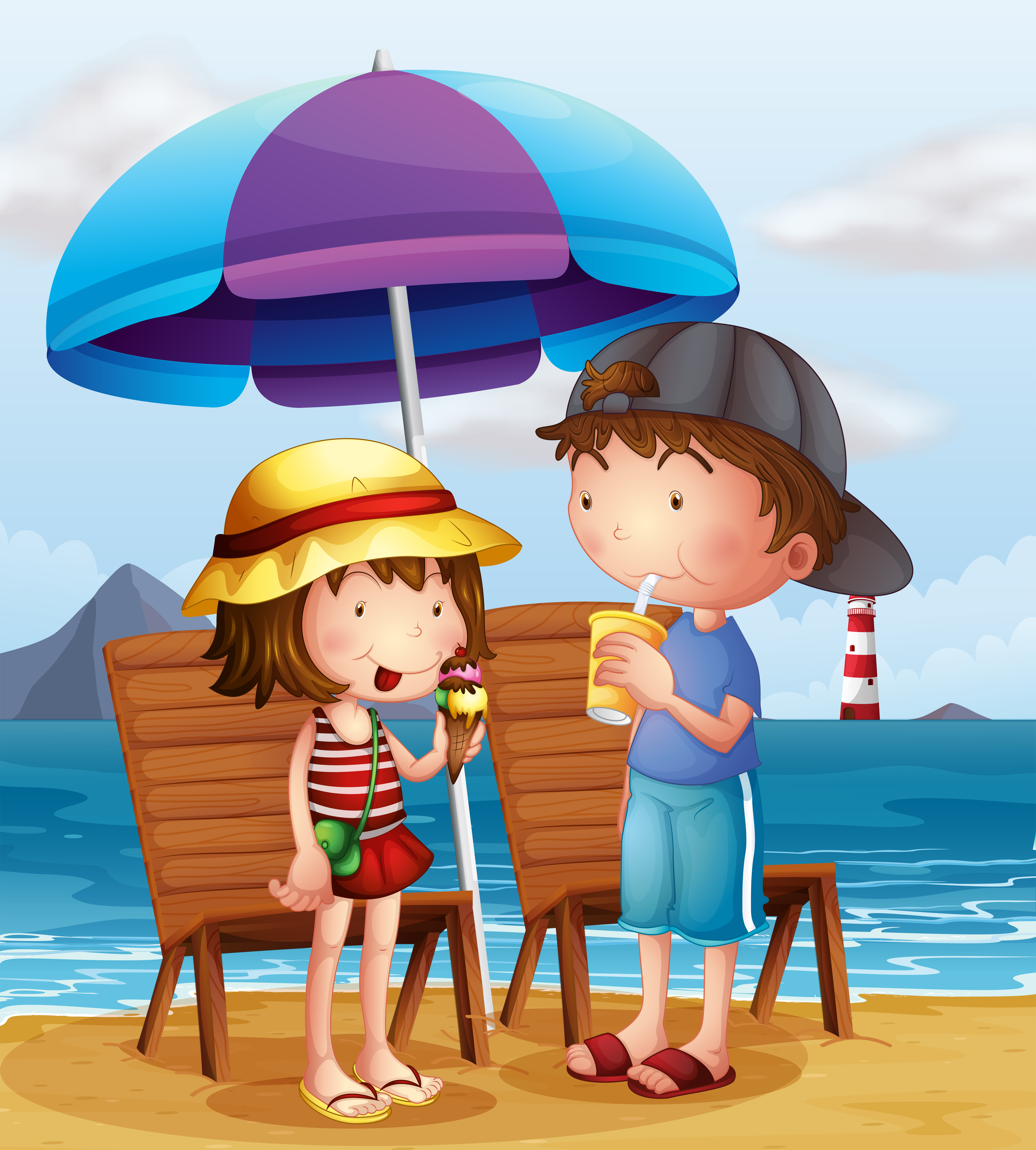 Two Kids At The Beach Near The Wooden Chairs