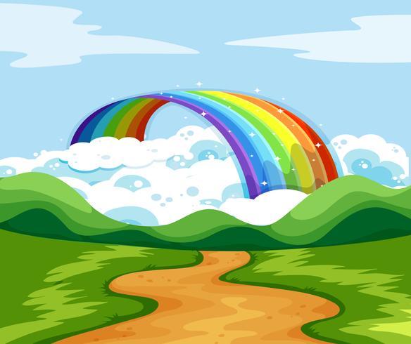 Cena da natureza com arco-íris no final da estrada