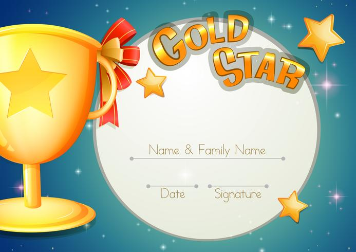 Certificate template with trophy and stars